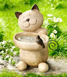 "Bird Bath ""Cat"" - Garden - Plants, Decoration & Tips - . Cement Crafts, Stone Crafts, Rock Crafts, Cat Garden, Garden Deco, Garden Art, Garden Crafts, Cat Lover Gifts, Stone Art"