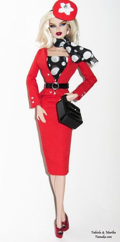 Red polka dot suit for Fashion Royalty & Silkstone by Famaka, $100.00