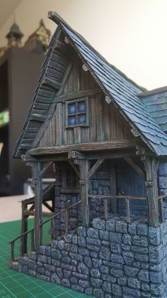 Medieval Blacksmith Forge - 28mm Building - Tabletop - Terrain - Diorama - Wargaming Medieval Houses, Medieval Town, Wood Router, Wood Lathe, Cnc Router, Building Drawing, Wargaming Terrain, Gnome House, Ceramic Houses
