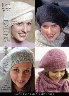 Berets heading for fall - lots of free patterns to knit and crochet - DiaryofaCreativeFanatic