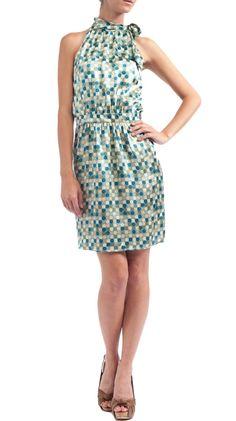 Silk Tie Halter Blouson Dress