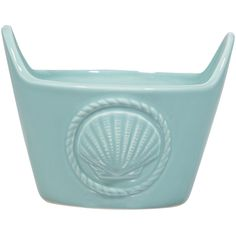 Home Essentials and Beyond Sea Blue Seashell Dish ($8.99) ❤ liked on Polyvore featuring home, kitchen & dining, serveware, sea shell dishes, nautical dishes, seashell dish, ceramic dish and shell shaped dishes