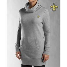 New Orleans Saints Cutter & Buck Ladies Cowl Lounger Grey Knit Pullover Jacket