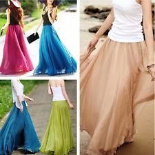 NEW Womens Ladys Girls Chiffon Dress French Vintage Dress Retro Long Maxi Skirt