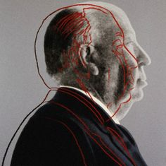 Warhol's portrait offers a variation on the doubled self-image that Hitchcock played with... suggesting the mischievous defacement of graffiti as much as the canonization of a hero... to further thicken the plot, Warhol's fluid line-drawing has echoes of a crime scene outline of a victim.