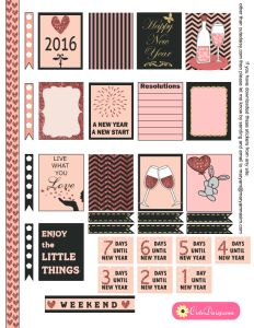 Free Printable New Year 2016 Stickers for Erin Condren Life Planner