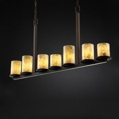 Alabaster Rocks!™ Dakota Seven-Light Bar Chandelier   Includes 6 ft. of chain and 10 ft. of wire.  Approximate fixture weight: 40 lbs.