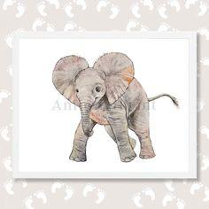 Elephant Print Elephant Nursery Art Baby Elephant by AnimArtPrint