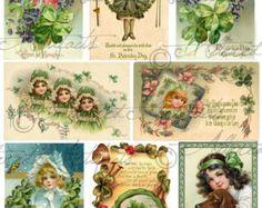 Instant Download Saint Patrick Patrick's Vintage Look Postcards Digital Collage Sheet Victorian Scrap Patties