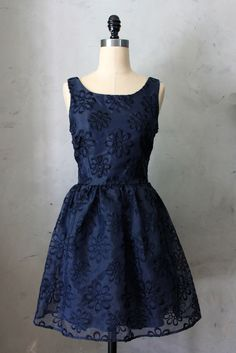 Audrey Dress in Navy Eyelet