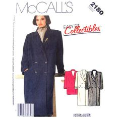 Double Breasted Coat Pattern McCalls 2180 Long Coat or Car Coat Womens Size 10 Vintage Pattern - product images  of