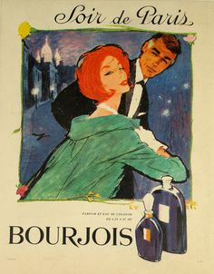 Affiche Soir de Paris Bourjois - France - illustration de Raymond - 1950 -