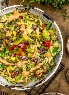This indulgent and healthy Vegan Big Mac Salad is sure to bring all your dreams of fast food deliciousness without any guilt or sacrificing of the flavor! #vegan #oilfree #glutenfree #plantbased | monkeyandmekitchenadventures.com Vegan Baked Potato, Baked Potato Toppings, Vegan Potato Soup, Vegan Cheese Substitute, Vegan Cheese Sauce, Mac Salad Recipe, Quick Pickled Red Onions, Whole Food Recipes, Healthy Recipes