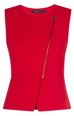 Deisi Asymmetrical Zip-Up Peplum Top Blouse Styles, Blouse Designs, Look Fashion, Womens Fashion, Fashion Design, Professional Outfits, Trendy Tops, Work Attire, African Fashion