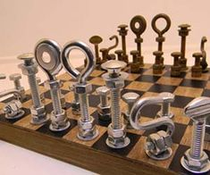 No gift will satisfy the intellectual handyman quite like the hardware chess set. This custom set features creatively designed pieces made entirely out of...
