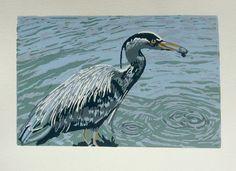 Heron Linocut by Gerry Coles