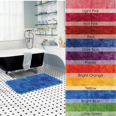 Inspired by the bright retro colors of today's home fashion trends, these rugs are vibrant and bold. With a non-skid back and the ease of machine wash care, these rugs are ideal.http://www.overstock.com/Bedding-Bath/Bright-Luster-Non-skid-21x34-Bath-Rug/7731182/product.html?CID=214117 $24.99