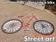 How to make sewage manhole covers useful ------------ #bicycle   #streetart   #manholecover