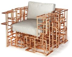 One-of-a-kind armchair boasts intrinsic maze of copper piping