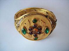 SCARCE Antique Rhinestone Compact BRACELET Combination Vintage Makeup Jewelry