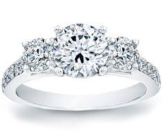 Three Stone Pave Engagement Ring