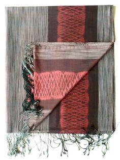 Large Silk Ikat Shawl Throw - Brown Coral Cream by IMPERIO Vida