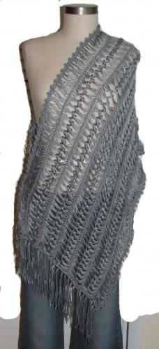 Pewter Gray Hairpin Lace Bamboo And Silk Blend Shawl