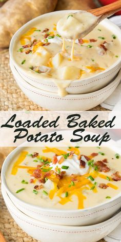 Loaded Baked Potato Soup Recipe - How to Make Slow Cooker Crock Pot Style Creamy Potato Soup Crock Pot Recipes, Vegetarian Crockpot Recipes, Best Soup Recipes, Potato Soup Recipes, Creamy Soup Recipes, Soup Recipes With Bacon, Healthy Recipes, Mexican Soup Recipes, Vegetarian Recipes