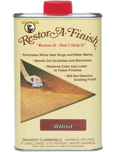 Howard's Restore-A-Finish permanently removes white water rings and heat marks, sun fade, oxidation, smoke damage, and most other blemishes on kitchen tables, coffee and end tables, buffets, window sills, antiques, cabinets, paneling, countertops, etc. It is a unique finish-penetrating stain formula that restores the original color to your finish while blending out the blemishes and minor scratches.