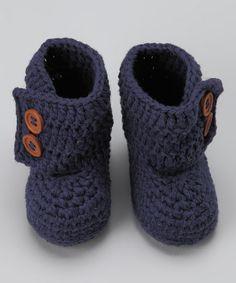 Navy Blue Crocheted Boot