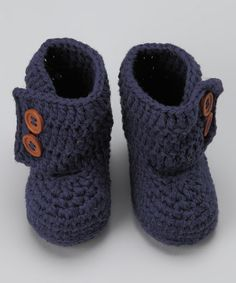 OH MY GOSH THIS IS TOO ADORABLE!!!!! Navy Blue Crocheted Boot