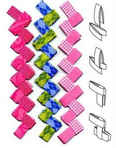 paper chains with scrapbook papers.      i remember doing this with gum wrappers in the 60's