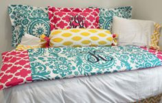 Custom Design Ur Own Day Bed Bedding Pink Teal Navy and Yellow
