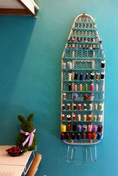 Cute idea for sewing room.Thread Storage with Repurposed Ironing Board. Repurposed Ironing Board For Thread Storage. Never throw away the old ironing board! You can repurpose it for a unique place for your spools of thread in your craft room! Repurposed i Thread Storage, Sewing Room Storage, Sewing Room Organization, Craft Room Storage, My Sewing Room, Organization Ideas, Storage Ideas, Sewing Room Decor, Craft Room Organizing