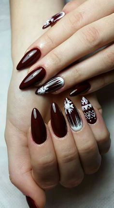 Winter nails with snowflake; red and white Christmas nails; cute and unique Christmas nails; Christmas Nail Art Designs, Holiday Nail Art, Winter Nail Art, Xmas Nails, Christmas Nails, Christmas Holiday, White Christmas, Nail Art Noel, Sweater Nails