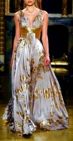 Zuhair Murad ~ Haute Couture Evening Gown, Silver Grey w Gold