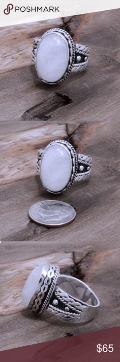 """Sterling Silver & Moonstone Ring Stamped """"925 MA-136"""". Manufacturers ID. Stone has natural cracks and inclusions.  This is not a stock photo. The image is of the actual article that is being sold  Sterling silver is an alloy of silver containing 92.5% by mass of silver and 7.5% by mass of other metals, usually copper. The sterling silver standard has a minimum millesimal fineness of 925.  All my jewelry is solid sterling silver. I do not plate.   Hand crafted in Taxco, Mexico.  Will ship…"""