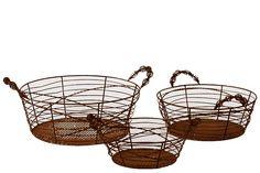 Modern Wired Metal Basket Set of Three Each Brown Decor BRU-721404 | lamp | lighting, furniture | accents, home decor | accessories, wall decor, patio | garden, Rugs, seasonal decor,garden decor,patio decor,lamps and lighting