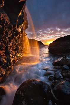 ? Fire Falls - Princeville, Kauai, Hawaii.  travel images, travel photography, travel destinations