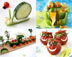 Tierfiguren aus Gemüse, Tomatenmenschen und Zug