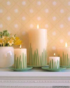 DIY Ideen - Frühlingsdeko selbst gestalten -Grashalm-Kerzen  Check more at http://diydekoideen.com/traumhaft-schone-diy-ideen-fruhlingsdeko-selbst-gestalten/