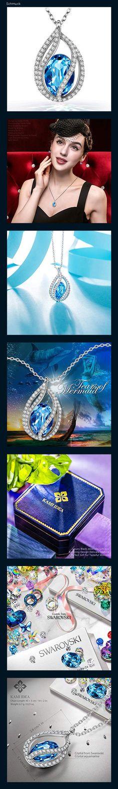 Kami Idea - Tränen der Meerjungfrau - Halskette, Kristall von Swarovski, Originelle Entwerfung, Symbol für Sicherheit und Glück, Geschenkverpackung, 45 + 5 cm - 14hc