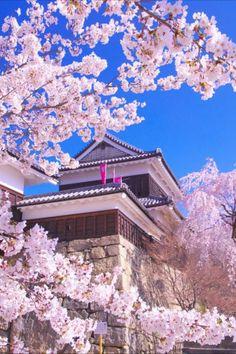 Japanese Castle, Castle Ruins, Cherry Blossoms, Illustration Art, Notebook, Scene, Clouds, Mansions, Landscape