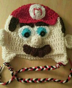 Super Mario inspired crochet hat beanie with by MadebyMEEshop