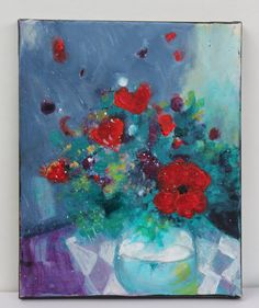 Original Abstract Floral Still Life on by kerriblackmanfineart, SOLD