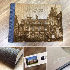 Beautiful Graphistudio wood cover engraved with the picture of the wedding venue. Albums, Wedding Venues, Wood, Cover, Frame, Pictures, Photography, Beautiful, Wedding Reception Venues
