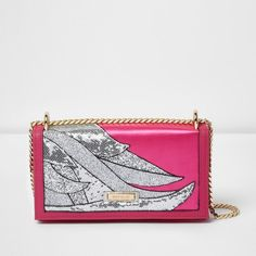 72060820b3d River Island Pink glitter swirl underarm chain bag ( 60) ❤ liked on Polyvore  featuring bags, handbags, shoulder bags, bags   purses, cross body bags,  pink, ...