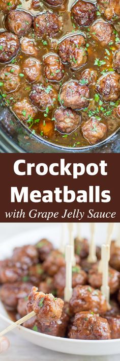 Homemade Crockpot Meatballs smothered in a sweet and tangy sauce made with grape… Homemade Crockpot Meatballs smothered in a sweet and tangy sauce made with grape jelly and chili sauce. Double or triple this recipe – they'll go fast! Crockpot Dishes, Crock Pot Slow Cooker, Crock Pot Cooking, Slow Cooker Recipes, Crockpot Recipes, Cooking Recipes, Crockpot Meat, Homemade Meatballs Crockpot, Crock Pot Meatballs