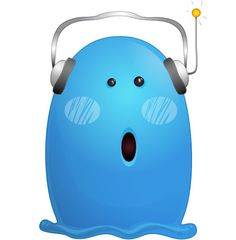 Blue Monster Character with Headphones Free Vector