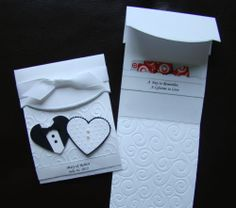 Personalized Handmade Stampin Up Wedding, Anniversary Card Embossing & Pocket